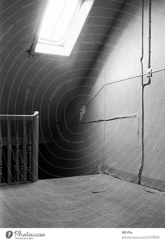 Heiko-3 Analog Black & white photo Staircase (Hallway) Light Panic Fear storytelling narrative