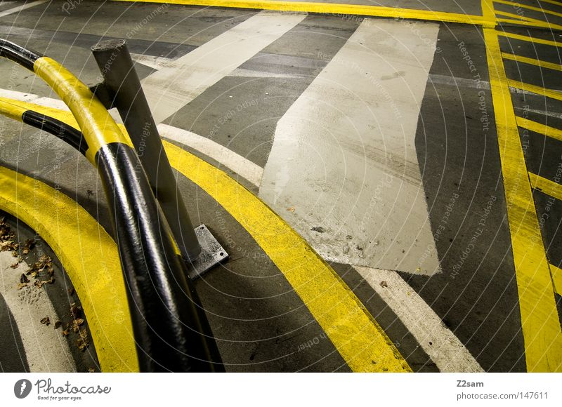 Yellow Street Dark Style Metal Line Bright Glittering Signs and labeling Concrete Arrangement Stripe Handrail Pipe Conduct Chaos