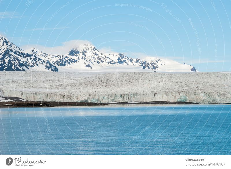 Glacier in arctic Vacation & Travel Ocean Winter Snow Mountain Environment Nature Landscape Climate Coast Freeze Blue White ice The Arctic polar Spitzbergen