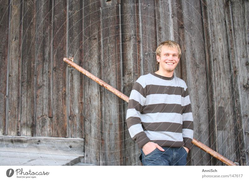 Sunday afternoon Happiness Striped sweater Portrait photograph Youth (Young adults) Blonde Traffic infrastructure Joy Colour smiling man Happy enjoy life