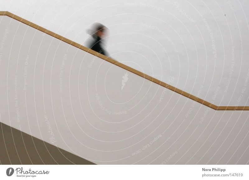in a hurry Subdued colour Interior shot Blur Motion blur Study Human being Woman Adults Life Head 1 Library Building Architecture Stairs Running Movement Going