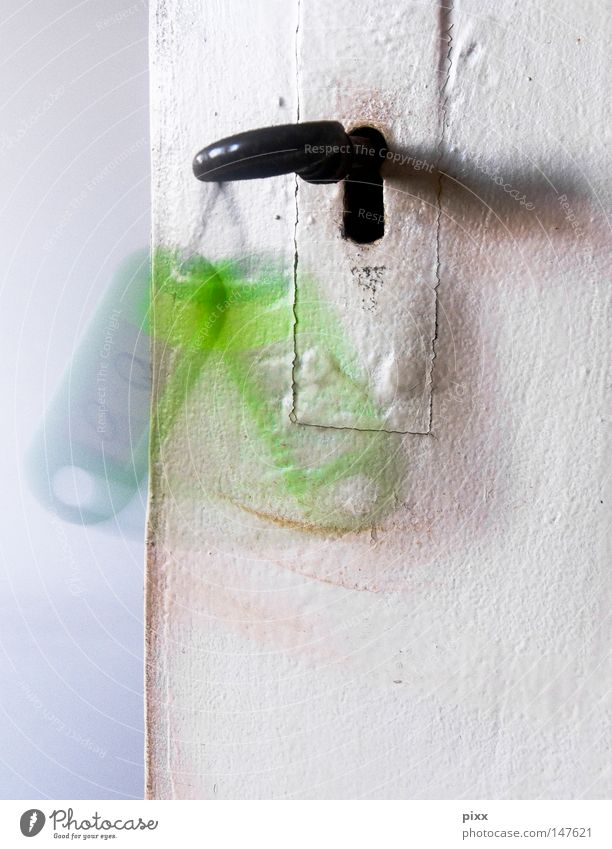 Analog firewall Room Room door Key Keyhole Closed Green Movement Motion blur Wobble Remember Accumulate Memory Old building Derelict White Metal fitting Empty