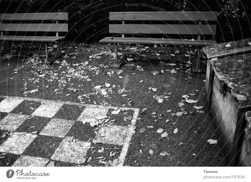 Loneliness Cold Autumn Playing Leisure and hobbies Wait Empty Closed Derelict Traffic infrastructure Chess Chessboard