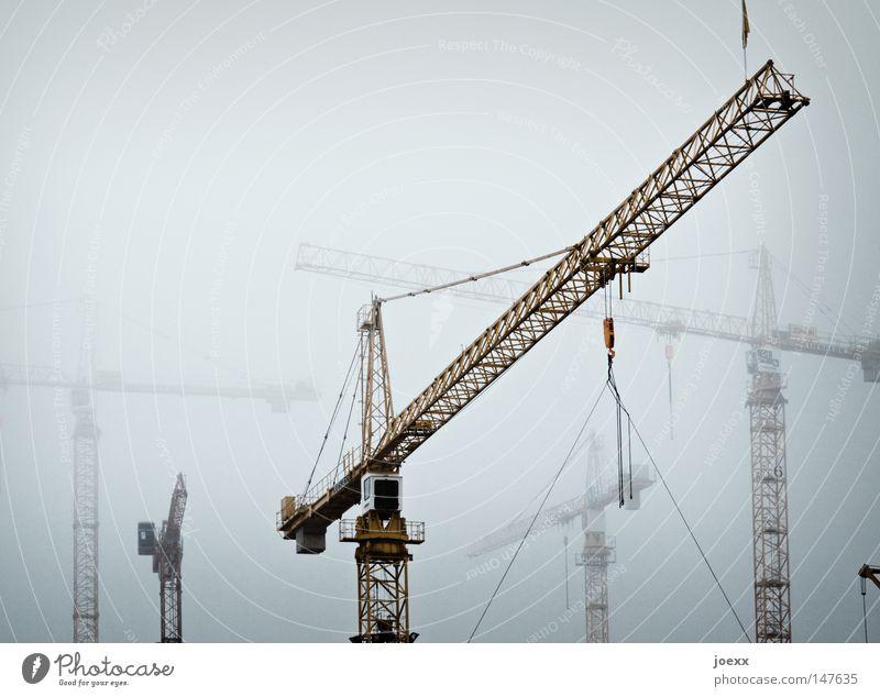 Sky Cold Gray Fog Industry Dangerous Threat Construction site Craft (trade) Build Crane Arrange Bad weather Produce