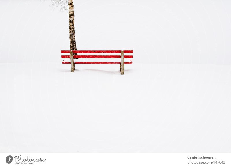 White Red Winter Calm Loneliness Snow Bench Peace Seasons Peaceful