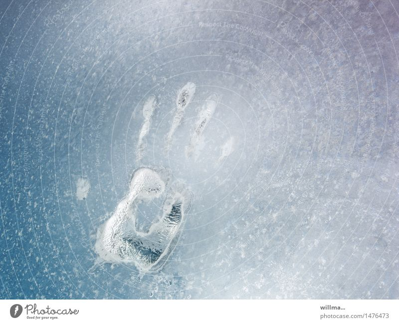 The ice-cold little hand Hand Winter Ice Frost Window pane Cold handprint Frozen Light blue Fingerprint Fingers Detective novel Structures and shapes Deserted