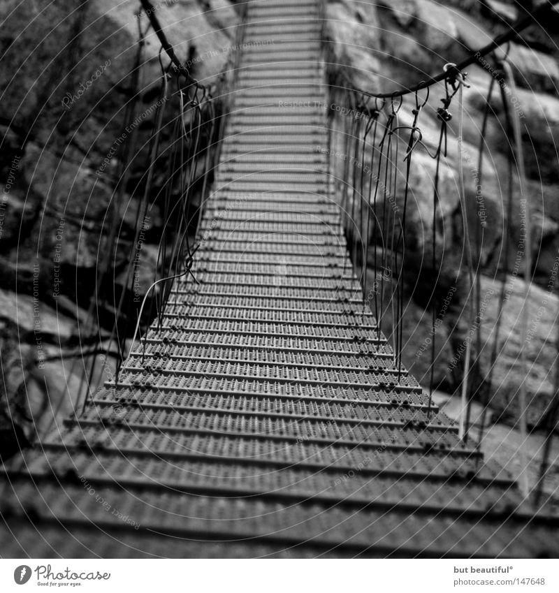 spasimata canyon° Suspension bridge Risk Insecure Beautiful Corsica Bridge Fear Panic Brave Black & white photo Rocking Vacation & Travel gr20 Spasimata Gorge