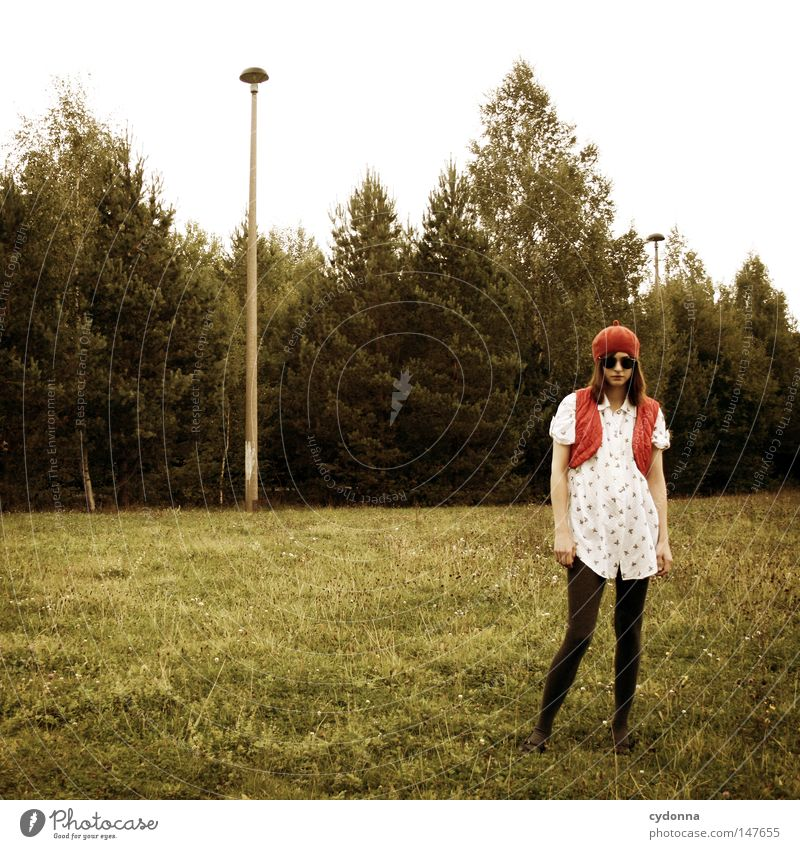 Next to them Square Retro Romance Nostalgia Style Woman Clothing Shirt Vest Tights Time Stagnating Longing Emotions Moody Meadow Grass Stand Far-off places