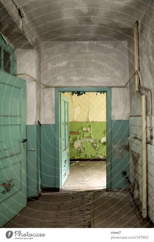 entrance Door Gate Entrance Way out Going Old Shabby Paints and varnish Contrast Ruin Room Gloomy Calm Open Empty Derelict Deserted Hallway Uninhabited