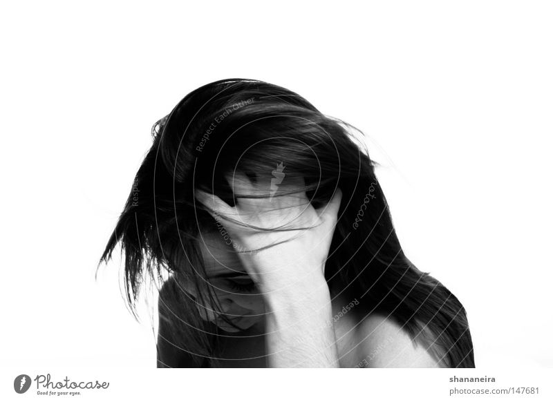 a little embarrassed... Hair and hairstyles Woman Black & white photo Think Timidity Sheepish Beautiful Esthetic Emotions Human being