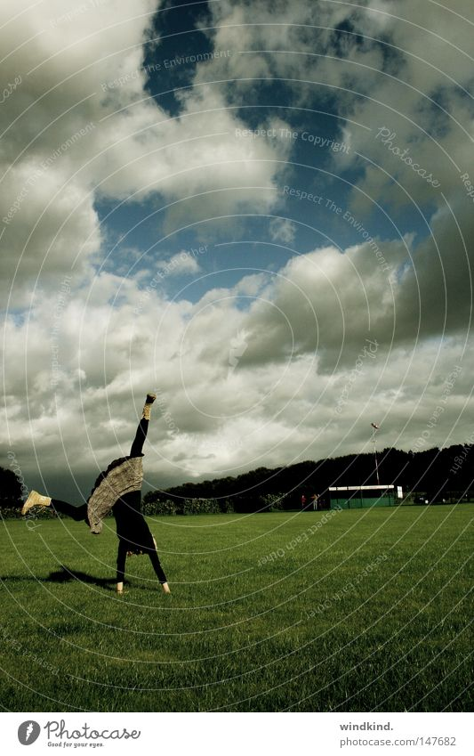 Woman Sky Youth (Young adults) Blue White Green Beautiful Summer Joy Clouds Meadow Sports Playing Grass Spring Freedom