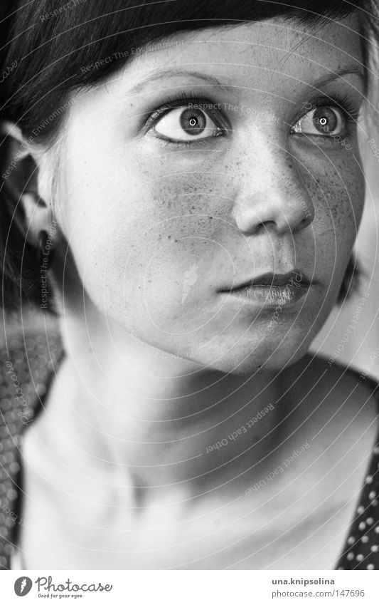 Human being Woman Youth (Young adults) White Black Face Adults Eyes Glittering Mouth Nose Young woman Portrait photograph Surprise Facial expression Freckles