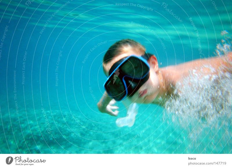 underwater Dive Diving goggles Air bubble Ocean Waves Summer Vacation & Travel Playing Water Blue Swimming & Bathing