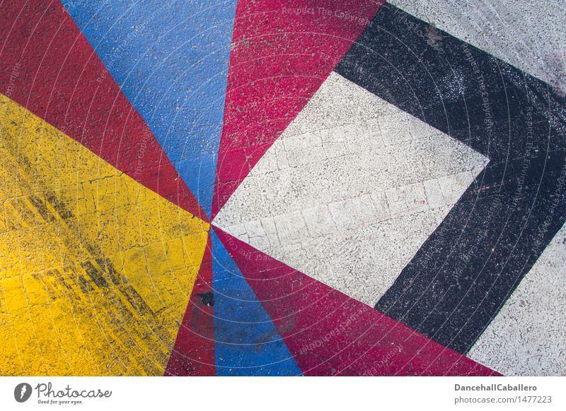 The wonderful world of geometry l 1 Transport Street Skid marks Esthetic Dirty Sharp-edged Kitsch Blue Yellow Red Black White Design Illustration Lifestyle