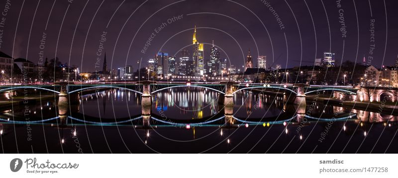 Frankfurt Main skyline at night Winter House (Residential Structure) Office Financial institution Business Architecture Landscape Water Sky Clouds River bank