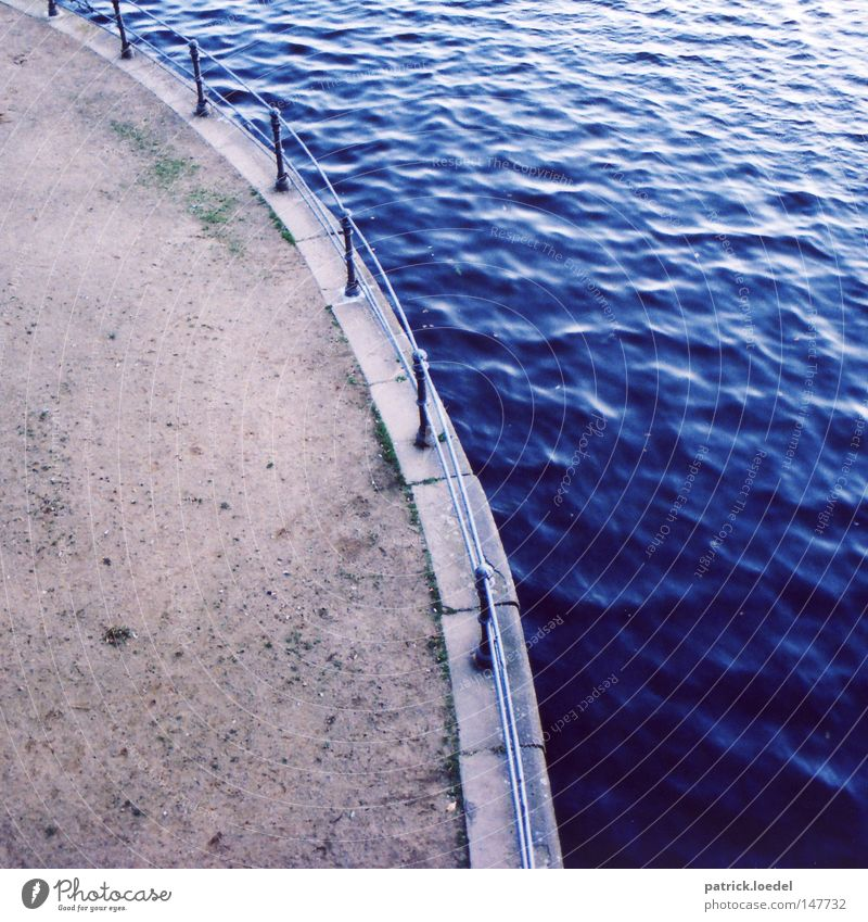 Water Blue Sand Lanes & trails Stone Lake Wet River Sidewalk Handrail Jetty Flow Swing Arch Promenade Alster