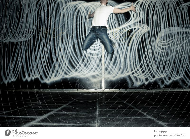 Human being Man Joy Wall (building) Graffiti Movement Jump Party Feasts & Celebrations Dance Flying Design Airplane Dance event Success Political movements