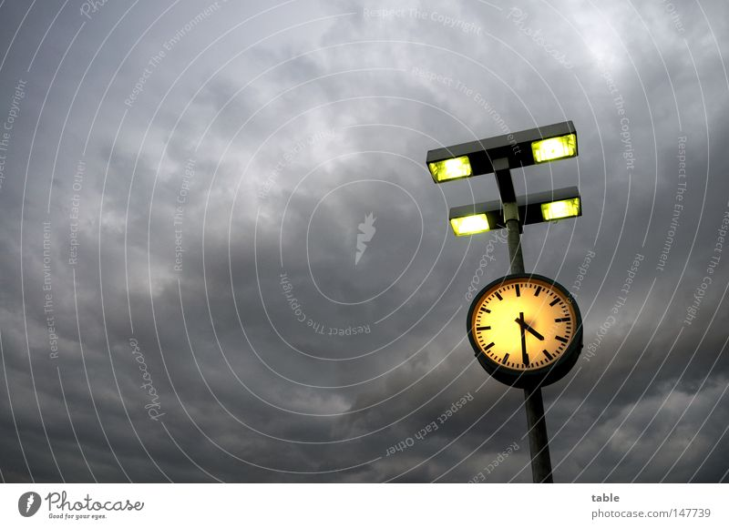 apocalyptic mood Clock Time Lamp Lantern Clouds Storm clouds Gale Afternoon Threat Late Dark Gray Yellow Light Emotions Sky Germany Floodlight Rain Evening Wait