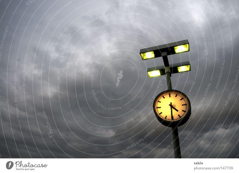 Sky Clouds Yellow Lamp Dark Emotions Gray Rain Wait Germany Time Threat Clock Gale Lantern Storm