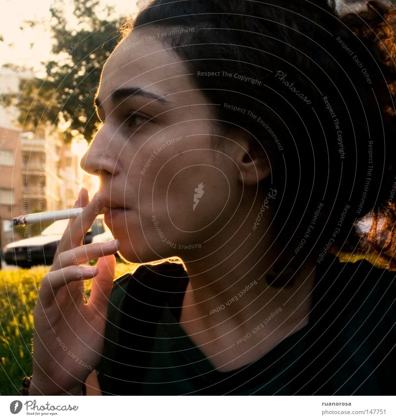 Woman Portrait photograph Head Face Hair Tobacco products Smoke Nicotine Mouth Cigar Pout Motor vehicle Street Dusk Evening House (Residential Structure)