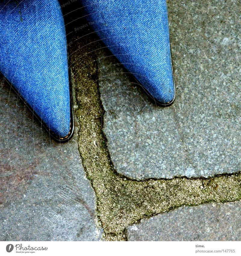 Woman Blue Feminine Stone Footwear Adults Clothing In pairs Corner Floor covering Point Exceptional Denim Cobblestones Pavement