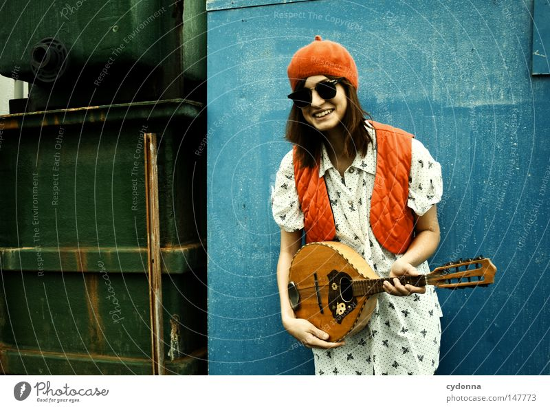 Woman Human being Old Green Blue Beautiful Red Joy Loneliness Life Wall (building) Emotions Style Happy Laughter Music