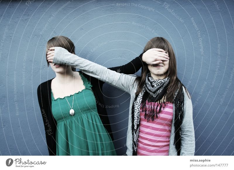 blind friendship Exterior shot Day Contrast Upper body Joy Contentment Feminine Young woman Youth (Young adults) Woman Adults Friendship Infancy Arm Scarf
