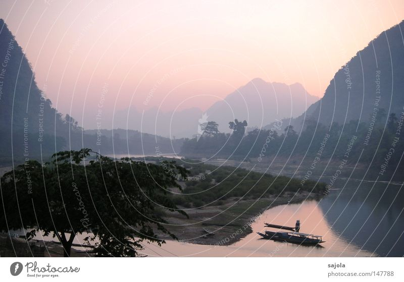 muang ngoi neua Life Harmonious Vacation & Travel Far-off places Mountain Logistics Landscape Water Sky Tree River Village Means of transport Watercraft Dream