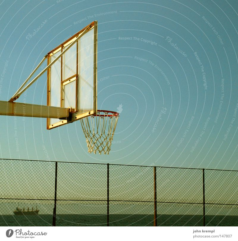 Sunk Basketball Basketball arena Playground Playing Sports Sporting grounds Ball Ball sports Confine Lower Fence Twilight Watercraft Motor barge Cargo-ship