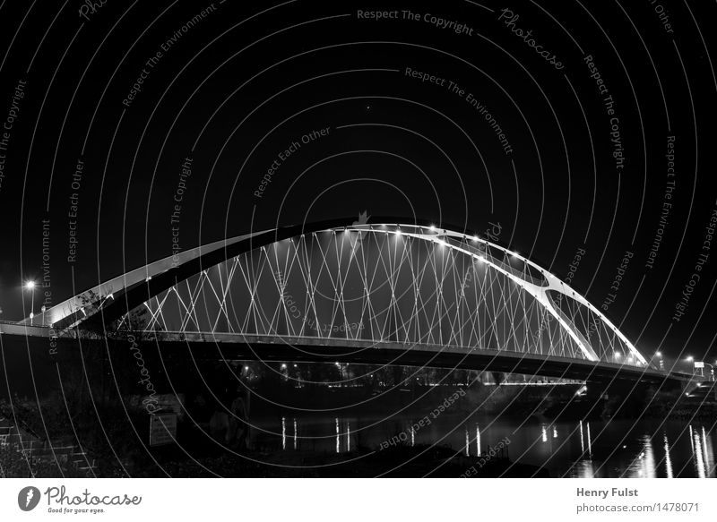 City Art Concrete Bridge River Steel Outskirts Night shot