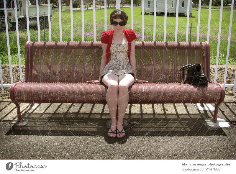 miss amelie Australia Woman Boredom amelie poulain warten Financial institution rot sonnenbrille frau maedchen tasche gruen wiese langeweile zug bahnhof