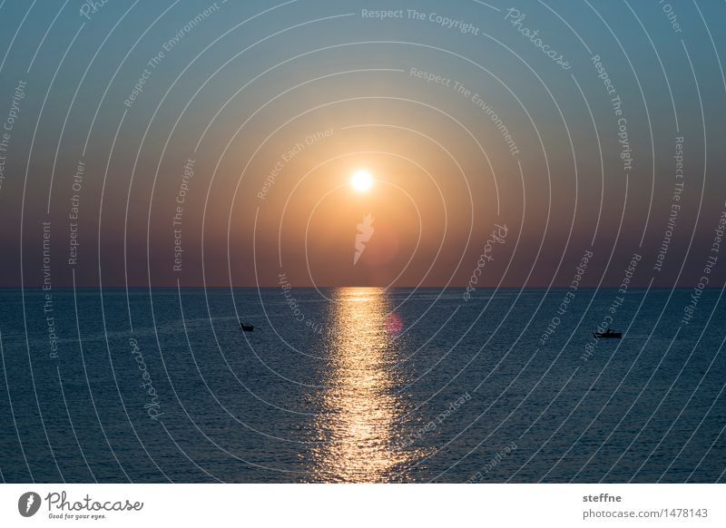 Morning II Nature Water Cloudless sky Sun Sunrise Sunset Sunlight Beautiful weather Ocean Mediterranean sea Adriatic Sea Bari Apulia Italy Kitsch Romance