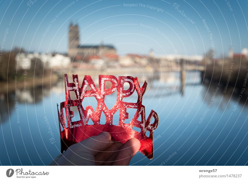 happy new year Magdeburg Germany Europe Dome Bridge Town Blue Red Black Joie de vivre (Vitality) Desire New Year's Eve Panorama (View) River Elbe Colour photo