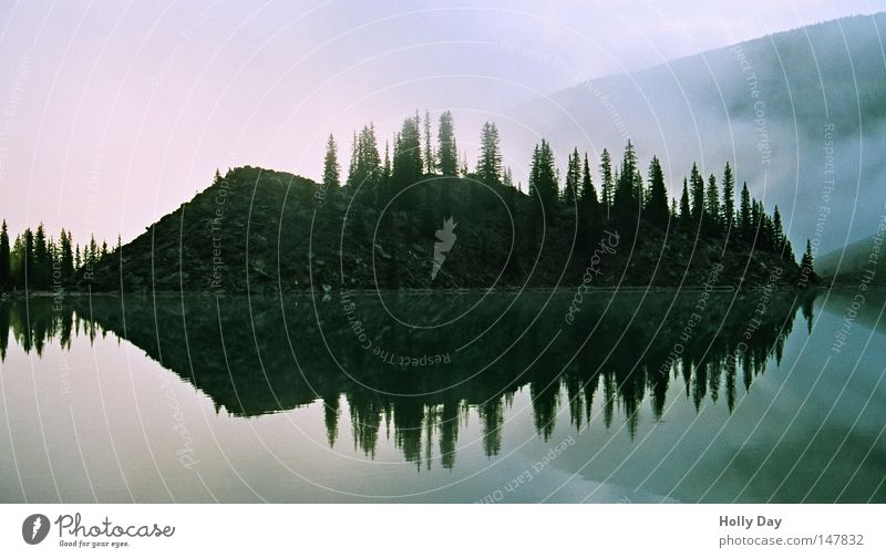 Sky Water Tree Calm Black Dark Cold Lake Fog Island Clarity Mirror Tilt Canada Eerie National Park