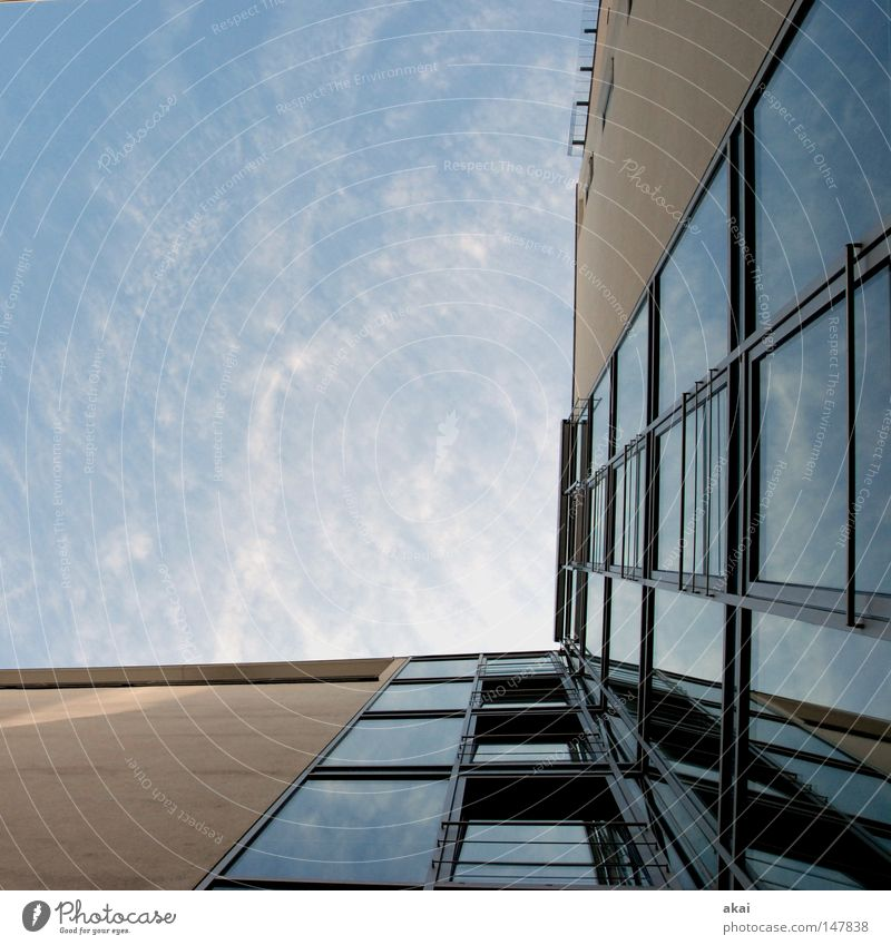 Sky.Glass.Concrete.Metal Town Warped Sky blue House (Residential Structure) Building Craft (trade) Architecture Perspective Old town Freiburg im Breisgau akai