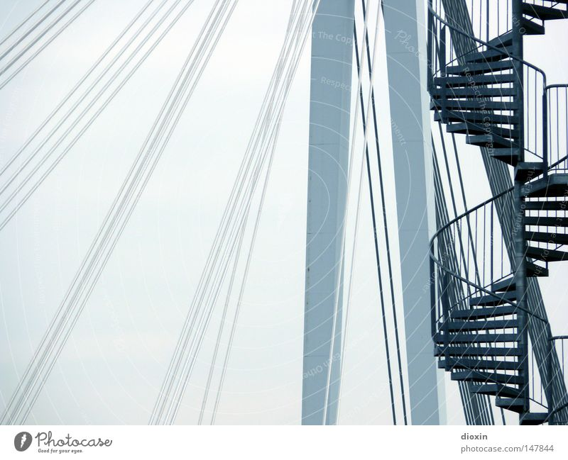 it´s a long way to the top... Bridge Suspension bridge Cable-stayed bridge Pylon Steel cable Winding staircase Stairs Handrail Banister Bridge railing Upward
