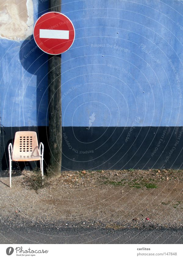 Blue Summer Vacation & Travel Wall (building) Chair Idyll Derelict Spain Electricity pylon Barrier Majorca Football pitch Mediterranean Street sign Road sign