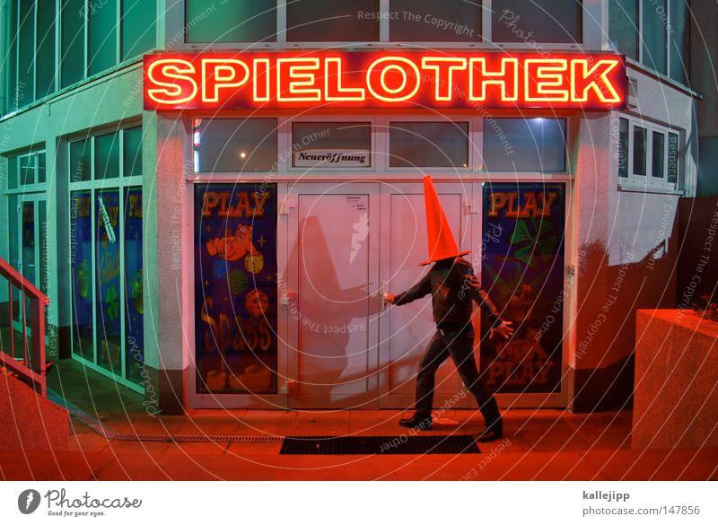 cap player Amusement arcade Neon sign Illuminated letter Word Man Adults Exterior shot Red light Irritation Compulsive gambling Disorientated Blind Headless