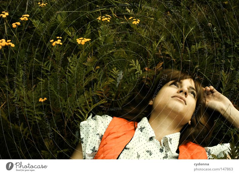 Woman Human being Beautiful Plant Loneliness Far-off places Meadow Life Emotions Grass Style Dream Moody Fashion Time Lie