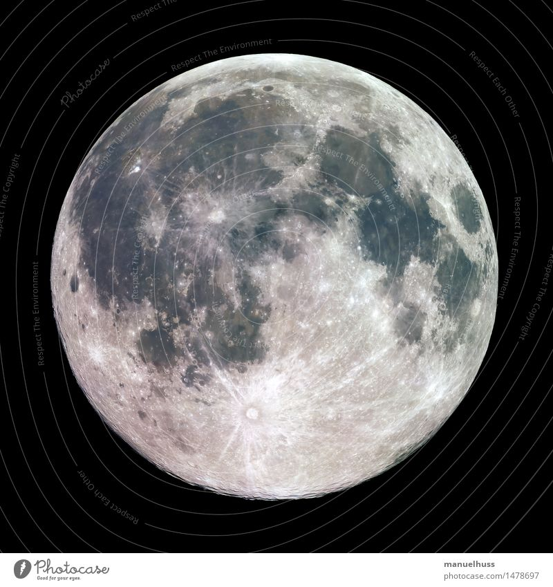 full moon Night sky Moon Full  moon Fat Gigantic Large Blue Brown Gray Green Black White Lunar landscape crater mare Minerals Surface structure