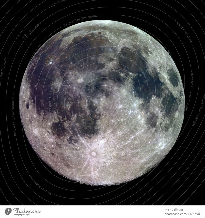 Mineral Full Moon Night sky Full  moon Fat Gigantic Large Round Blue Brown Gray Green Black White Lunar landscape crater mare Minerals Surface structure