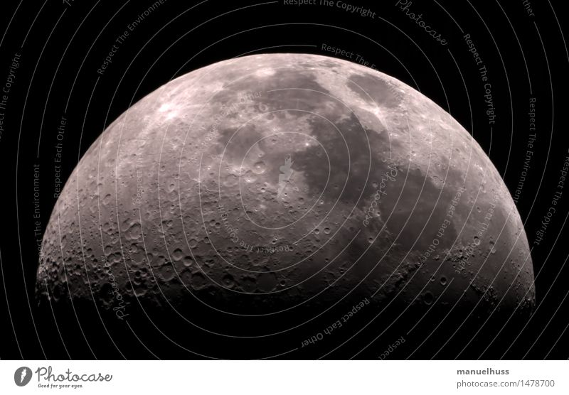 crescent Science & Research Astronautics Night sky Moon crater Half moon Dark terminator Telescope Zoom effect Detail Large Black White Humble Respect Universe