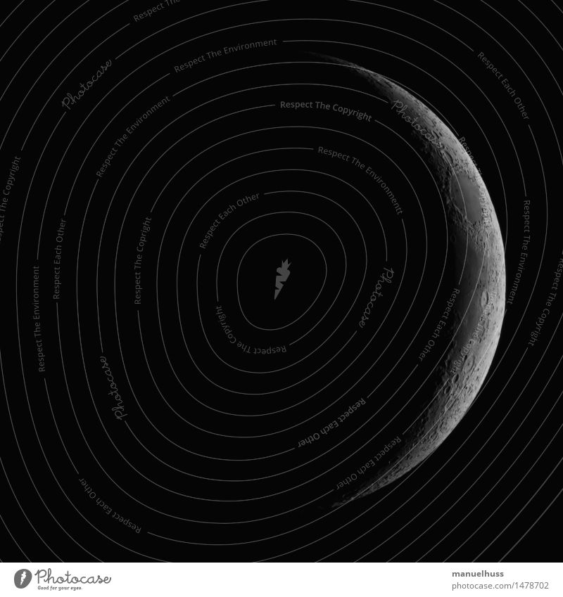 new moon Night sky Moon Thin Large Black White Science & Research Astronautics Lunar landscape Dark Telescope Zoom effect Detail Universe Volcanic crater