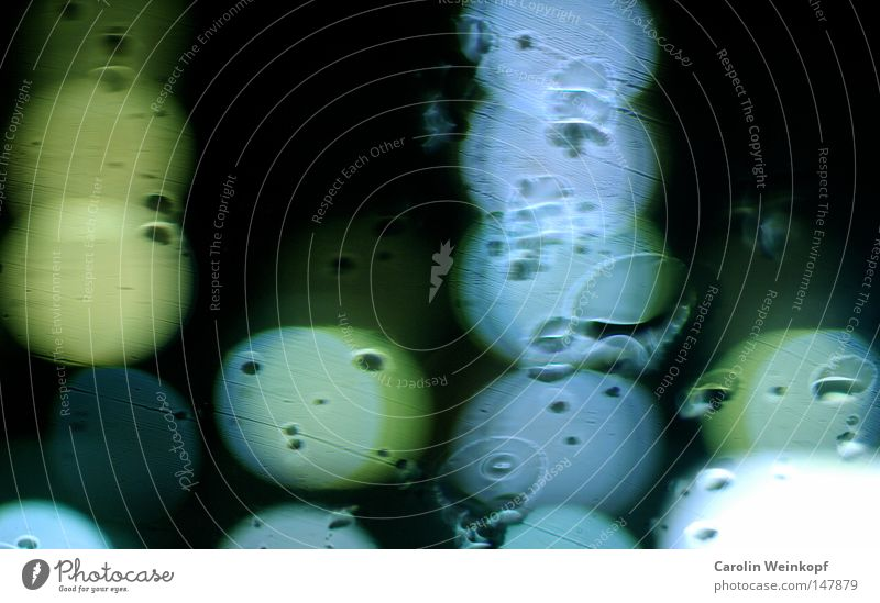 Blue Green Dark Style Art Rain Arrangement Glass Drops of water Planning Point Turquoise Window pane Abstract Light blue Placed