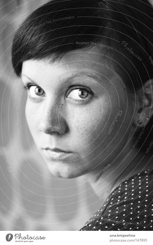 helical Young woman Youth (Young adults) Woman Adults Eyes Nose Mouth Observe Freckles Spotted Point Shoulder Black & white photo Portrait photograph Looking
