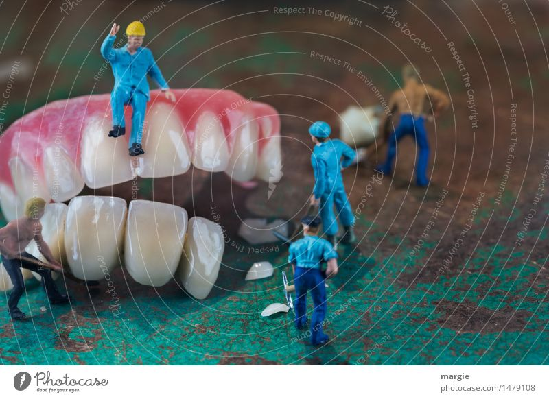 Miniwelten - Tooth restoration III Work and employment Profession Craftsperson Construction site Services Health care Man Adults 5 Human being Build Blue Pink