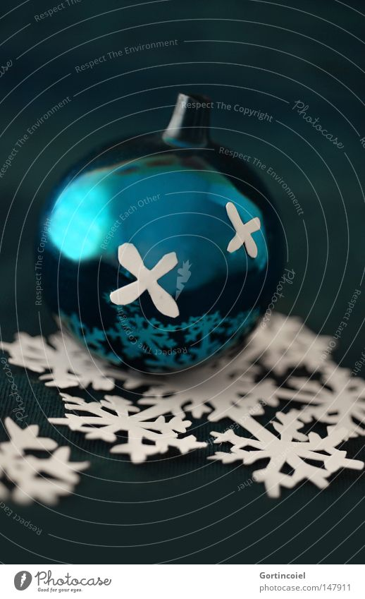 Christmas & Advent Beautiful Winter Snow Feasts & Celebrations Glittering Kitsch Decoration Turquoise Glitter Ball Snowflake Festive Christmas decoration Pensive Glimmer