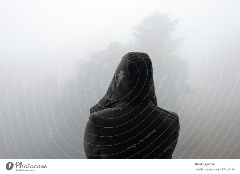 unpromising Fog Autumn Hooded (clothing) Tree Dark Jacket Vantage point Longing Wanderlust Winter Moody Grief Dream Think To console Gloomy Concern