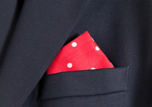 Red handkerchief with white polka dots in pocket of blue blazer Style Design Fashion Clothing Jacket Bright Soft Blue White Colour colorful Cotton Point Fold