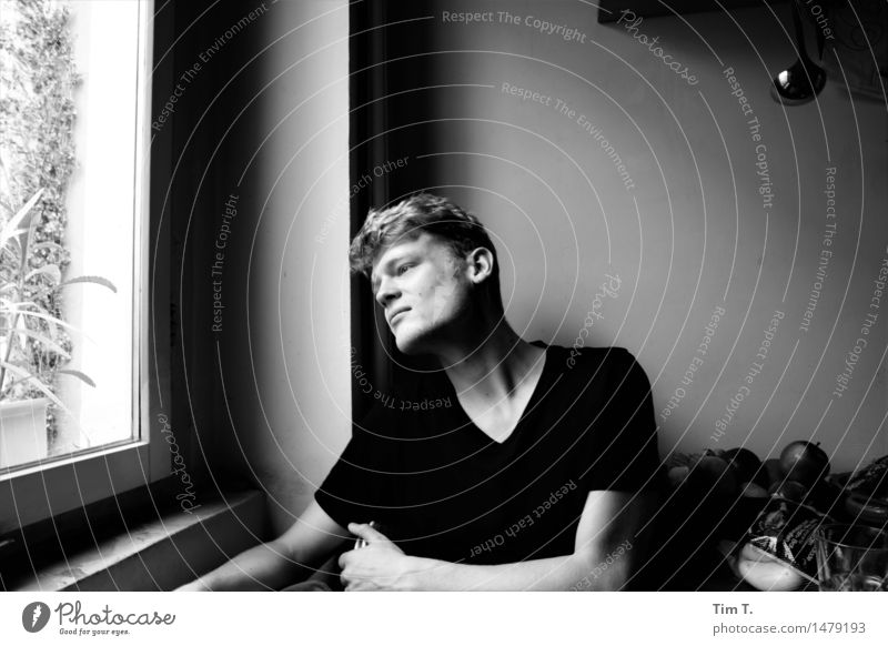 Boy at the window Human being Masculine Young man Youth (Young adults) Life 1 18 - 30 years Adults Emotions Dream Loneliness Black & white photo Interior shot